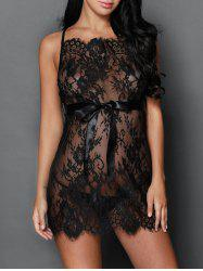 See Through Cross Back Lace Babydoll