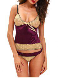 Lace Panel Satin Cami Summer Pajamas Top - VIOLET