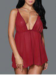 Plunge Backless Mini Sleep Dress
