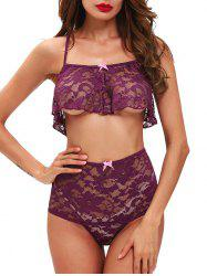 Full Coverage Cross Back Mesh Lace Bralette Set - VIOLET