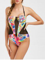 Floral Mesh Panel Push Up Swimwear