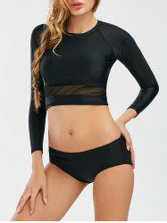 High Neck Long Sleeve Mesh Panel Swimwear