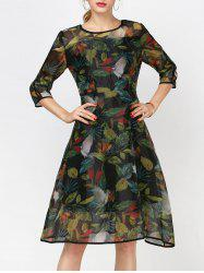 Fashionable Round Collar Long Sleeve Printed Organza Dress