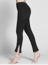 Skinny Side Slit Running Leggings - BLACK