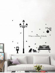 Lamppost Cat Butterfly Quotes Removable Vinyl Wall Sticker