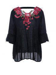 Plus Size Flare Sleeve Embroidery Appliqued Blouse
