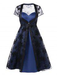 Slit Dress with Organza Duster Coat - BLACK AND BLUE 2XL