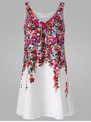 Floral Cut Out Mini Tent Dress - WHITE