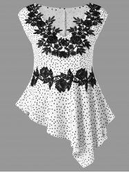 Polka Dot Flower Appliqued Asymmetrical Peplum T-Shirt