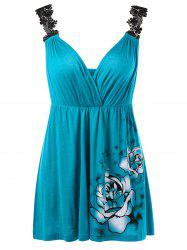 Floral Lace Shoulder Empire Waist Tank Top - PEACOCK BLUE