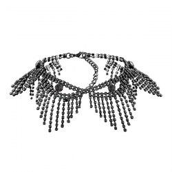 Sparkly Alloy Rhinestone Geometric Fringed Chain Necklace