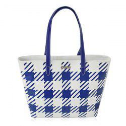 Plaid Faux Leather Shopper Bag