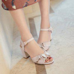 Block Heel Ruffles Sandals