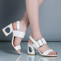Slingback Belt Buckle Sandals - WHITE