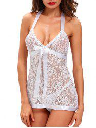 Halter Lace See-Through Babydoll