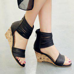 Ankle Wrap Strappy Wedge Heel Sandals
