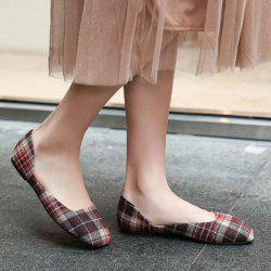 Plaid Square Toe Flat Shoes