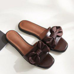 Faux Leather Bowknot Slippers - DEEP BROWN