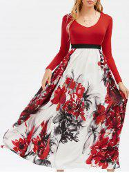 Full Sleeve Floral Empire Waist Maxi Dress - COLORMIX