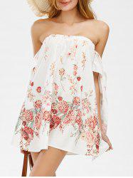 Off The Shoulder Floral Shift Beach Going Out Dress - WHITE