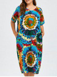 Plus Size Midi Tie Dye Print Baggy Dress with Pockets
