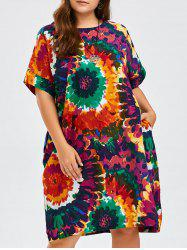 Tie Dye Linen Plus Size Dress With Pockets