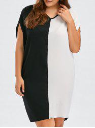 Chiffon Colorblock Plus Size Baggy Dress