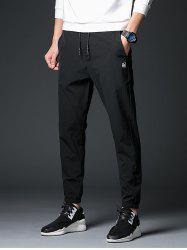 Drawstring Zipper Fly Applique Polyester Jogger Pants
