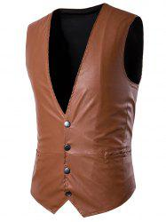 PU Leather V Neck Single Breasted Belt Design Waistcoat