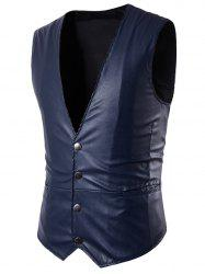PU Leather V Neck Single Breasted Belt Design Waistcoat -