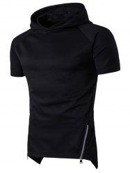 Side Zip Up Longline Short Raglan Sleeve Hoodie - BLACK