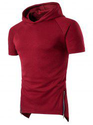 Side Zip Up Longline Short Raglan Sleeve Hoodie