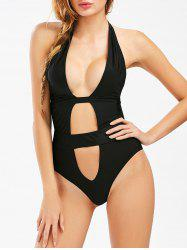Hollow Out Halter High Cut Swimsuit