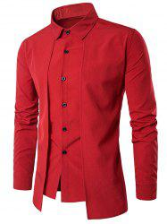 Faux Twinset Panel Design Long Sleeve Shirt - RED