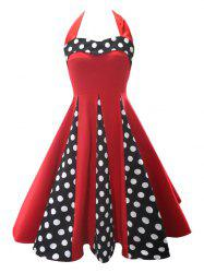 Backless Halter Polka Dot Vintage Dress