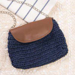 Straw Woven Cross Body Bag - BLUE