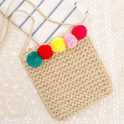 Pom Pom Straw Crossbody bag - PALOMINO