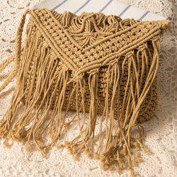 Crochet Fringed Cross Body Bag - CAMEL