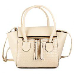Faux Leather Woven Winged Handbag