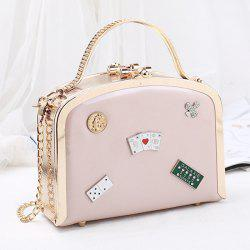 Metal Trimmed Badges Mini Handbag