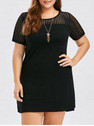 Plus Size Mesh Trim Fitted Dress