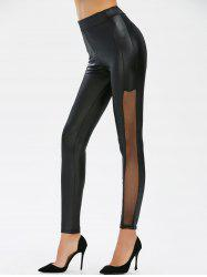 Mesh Panel Faux Leather Leggings