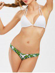 String Halter Tropical Palm Bikini Set