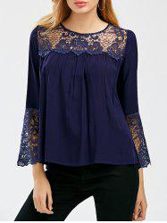 Lace Crochet Trim Bell Sleeve Smock Blouse
