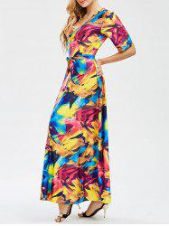 Maxi Printed Surplice Dress - COLORMIX
