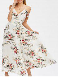 Low Cut A Line Dew Shoulder High Slit Tiny Floral Dress - WHITE