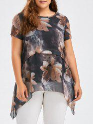 Flower Ink Painting Chiffon Plus Size Asymmetric Tunic Top