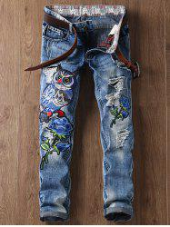 Floral and Owl Embroidered Straight Leg Ripped Jeans - BLUE