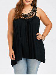 Plus Size Lace Panel Tank Top - BLACK
