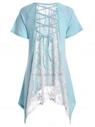 Sheer Lace Panel Asymmetric Long Tee